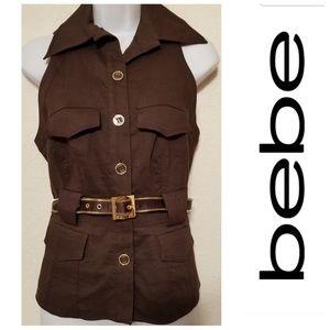 Bebe Sleeveless Chocolate Brown/Gold Top